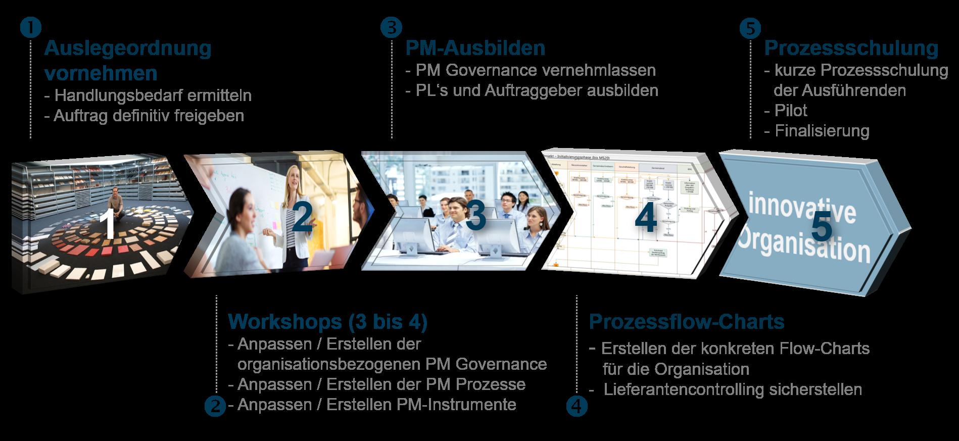 Darstellung des PRO-FIT Prozesses in 5 Schritten