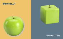 Visuelle Darstellung eines bestellten Produkts, einmal als runder grüner Apfel und einen eckigen grünen Ampfel